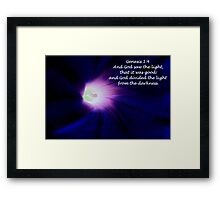 God Saw the Light, That it was Good. . . Framed Print