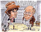 Sam Weller thanks his master, Mr Pickwick, for changing his fortunes. by andrea v