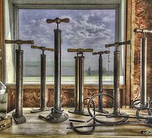 Antique Tire Pumps by Myron Watamaniuk