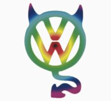 VW devil tail logo round hippie style colors by thatstickerguy