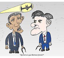 Caricature de Obama et Romney sous le Batsignale Photographic Print