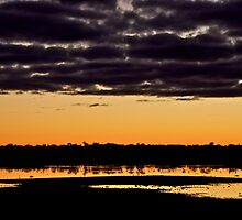Dramatic Sunrise in Black & Gold by Helen Vercoe