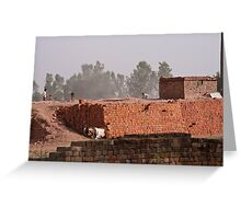 Workers at a brick kiln Greeting Card