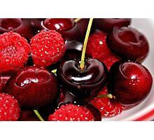Cherries in the Raspberries Photographic Print