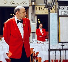 Early in the morning at Italian pizzeria by Rodion Kovenkin