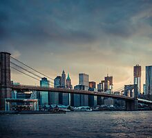 NYC skyline in the sunset - v1 by hannes cmarits