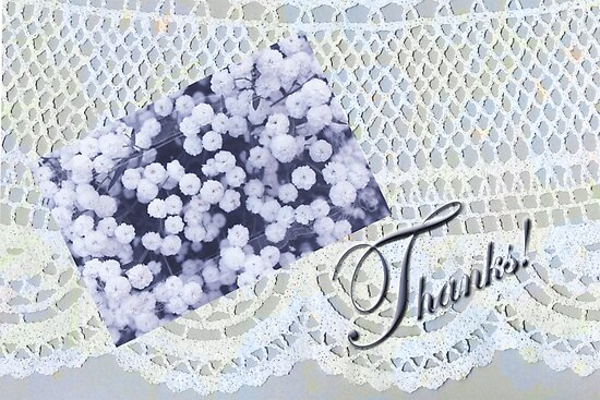 Lacy Doily Thank You Card by Sandra Foster