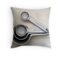 Vintage Measuring Spoons - kitchen art oil painting Throw Pillow
