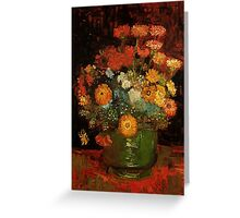 Vase with Zinnias Vincent van Gogh Greeting Card