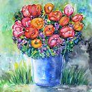 Tulips in a Vase by Caroline  Lembke