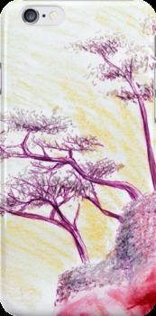 Drawing Day Purple Bonsai Island by Mui-Ling Teh