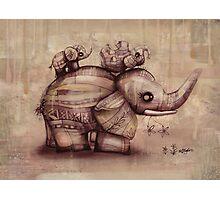 vintage upside down elephants Photographic Print