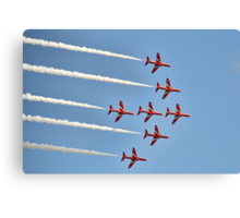 Red Arrows Over Lyme, Dorset Uk -2 Canvas Print