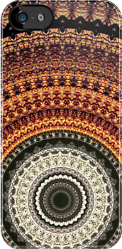 Golden Rays mandala iPhone case by Vicki Field