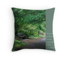 Japanese Garden Bench Throw Pillow