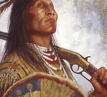 Warrior & his Winchester, Blackfoot, Native American Art, James Ayers Studios by JamesAyers