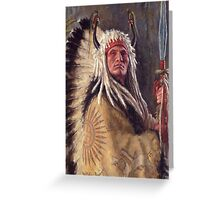 Black Rock Two Kettle Chief, Native American Art, James Ayers Studios Greeting Card