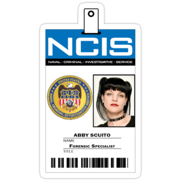 Ncis ID Badge http://www.redbubble.com/people/zorpzorp/works/9175625-abby-sciuto-ncis-id-badge-shirt?p=sticker