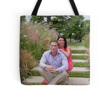 Dr Christian Jessen and Dr Dawn Harper at the RHS Hampton Court Palace flower show 2012. Presenters from the Embarrassing bodies tv programme. Tote Bag