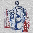 President Lincoln Statue In USA Flag Colors by artonwear