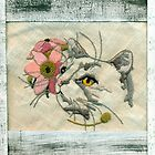 Needlepoint Cat Scannogram  by Sandra Foster