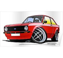 Ford Escort (Mk2) Mexico Red Poster