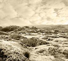 ruin in irish winter snow landscape by morrbyte