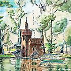 Warsaw in Watercolor - Wilanow Park painting by Plrang GFX