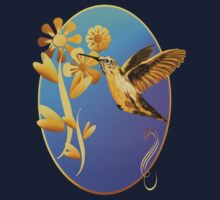 Gold Hummingbird Oval by Lotacats