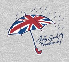 Union jack weather umbrella t-shirt by Sarah Trett