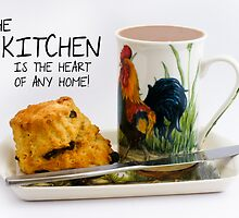 Kitchen saying note card with Afternoon Tea and scone by Moonlake