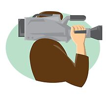 cameraman movie video camera side retro by retrovectors
