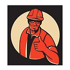 construction worker thumb up retro by retrovectors