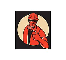 construction worker thumb up retro Photographic Print