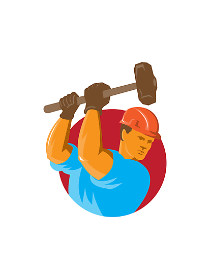 construction worker with sledgehammer by retrovectors
