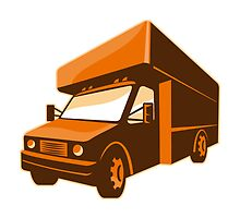 moving truck delivery van retro by retrovectors