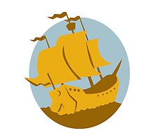 sailing ship galleon retro by retrovectors