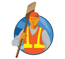 janitor cleaner sweeper with broom retro by retrovectors