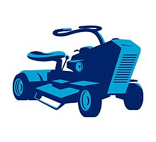 vintage ride on lawn mower retro by retrovectors