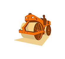 construction road roller retro Photographic Print