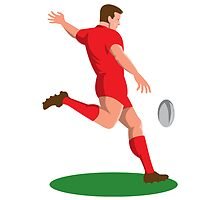 rugby player kicking ball retro by retrovectors