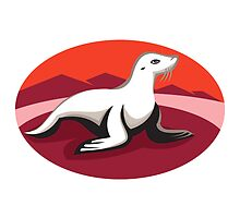 new zealand fur seal retro by retrovectors