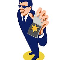 secret agent showing id badge retro by retrovectors