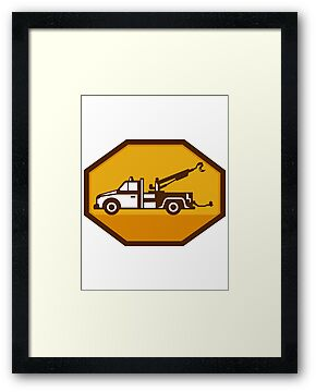 vintage tow wrecker truck side view retro by retrovectors