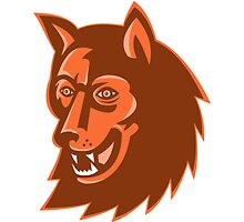 wolf wild dog head retro by retrovectors