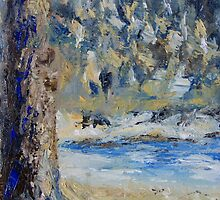 """detail """"Fir Tree Pond"""" oil painting MAYNE ISLAND  by TerrillWelch"""