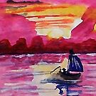 Pink sunset #2, watercolor by Anna  Lewis