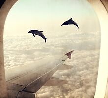 Monday Dream - Flying with My Dolphin Friends by Paula Belle Flores