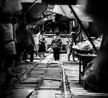 Old Lady walking on the train track by hangingpixels