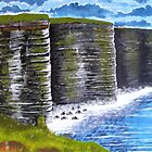Cliffs of Moher, County Clare, Ireland, view from tourist lookout by Samuel Ruth